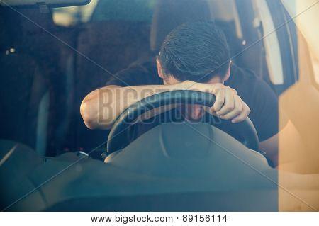 Very Upset Guy Inside A Car