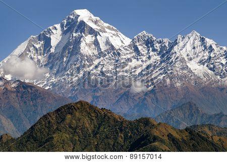 Panoramatic View From Jaljala Pass Of Dhaulagiri