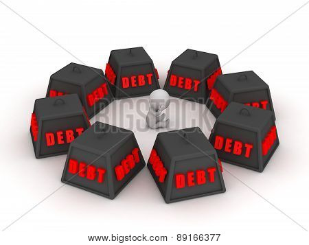 3D Character surrounded by debt