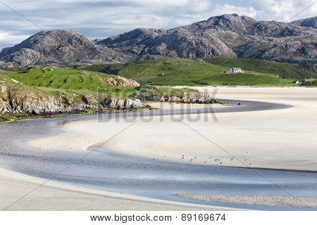 Low tide at Uig Beach on the Isle of Lewis and Harris, Outer Hebrides in Scotland