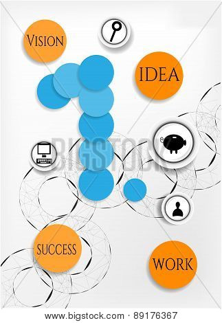 Modern, abstract infographic with number one, black icons, orange, round  icons with text - work, id