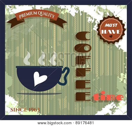 Vintage card - coffee shop with text and one, blue cup of coffe with white heart, retro design, grun