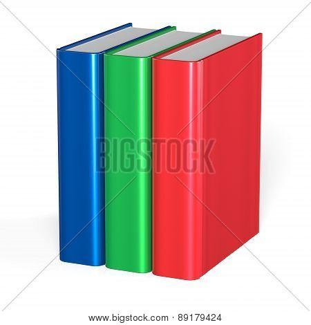 Three Books Blank Cover Standing 3 Textbook Workbook