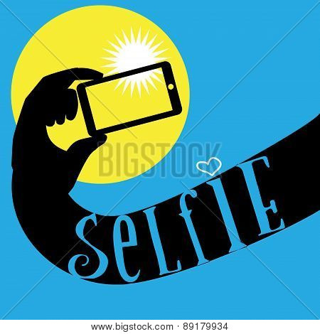 Hand with mobile phone make selfie photo.