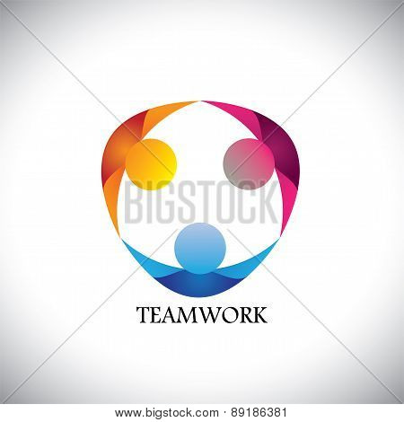 Abstract People Team & Teamwork - Vector Logo Icon
