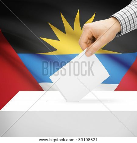 Voting Concept - Ballot Box With National Flag On Background - Antigua And Barbuda