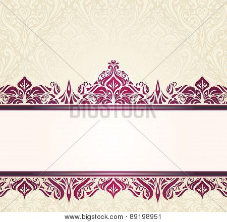 Ecru pale vintage invitation design with red ornaments