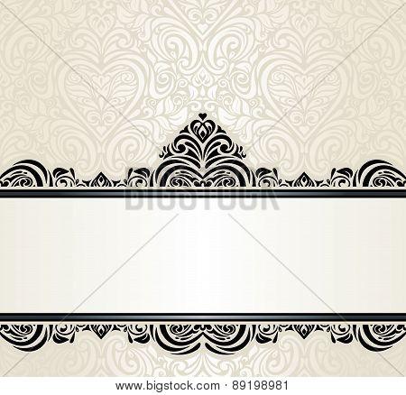 Wedding vintage Ecru invitation design background