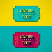 Entry ticket in modern flat design with long shadow. Admit one cinema, theater, zoo, festival, carnival, concert, circus event. Pass icon for online tickets booking. Vector illustration. poster