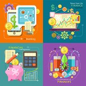 Internet online banking. Accumulation of finances concept of a magnet attracting golden coins. Accounting with digitial caculator. Financial diagram on a laptop monitor. News from finance market poster
