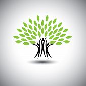 happy joyous people as trees of life - eco concept vector icon. This graphic also represents harmony joy happiness friendship education peace development healthy growth sustainability poster