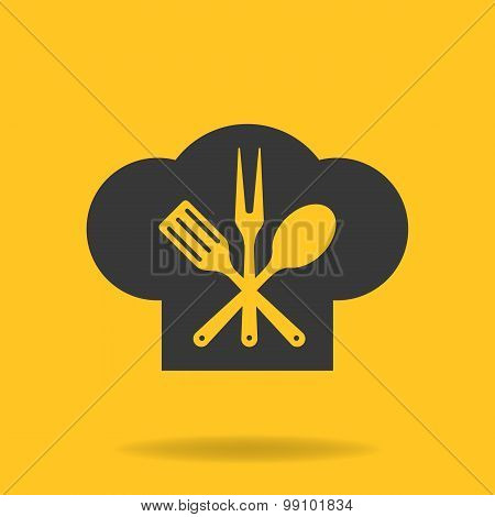 Icon Of Chef, Cook Cap With Fork, Spoon And Fry Shovel