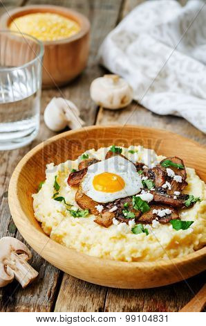 Polenta With Caramelised Mushrooms, Egg, Cilantro And Cheese