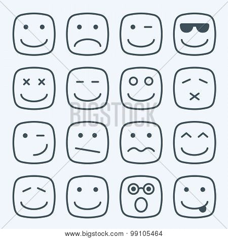 Thin line emotional square yellow faces icon