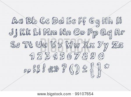 Hand drawn alphabet letters doodle scribble childrens abc, vector font. Type, numbers, characters and punctuation marks. poster