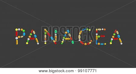 The word Panacea made with pills on grey background