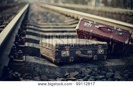 Old Fashioned Forgotten Suitcases