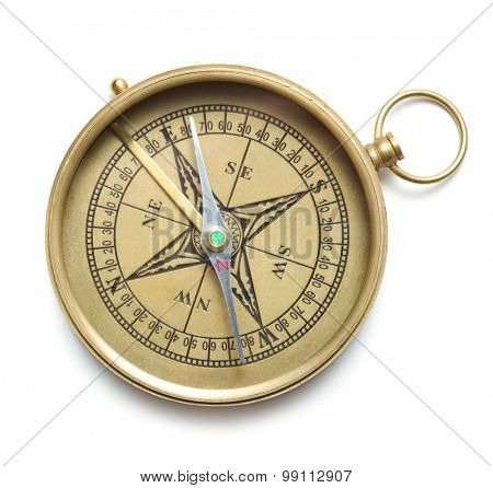 Brass compass isolated on white background