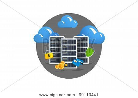 Isolated flat color vector illustration on light background. Visualization concept electronic commerce mining Bitcoin. Cloud technology. Virtual money. Elements for infographics. Earnings in network. poster