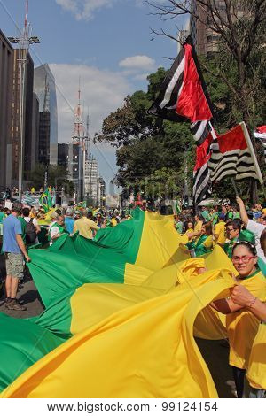 Protest Against Federal Government Corruption In Brazil