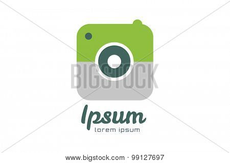 Photo camera logo icon template. Photographer logo, photo image logo. Technology and techno logo icon. Objective lens symbol. Photo shape vector.