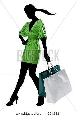 poster of Business Traveling Shopping Woman Silhouette in Green Dress, Turquoise Bags on White