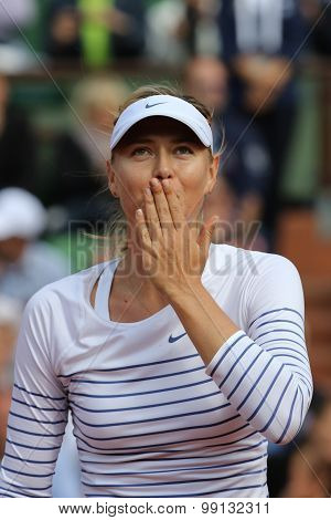 :Five times Grand Slam champion Maria Sharapova during first round match at Roland Garros 2015