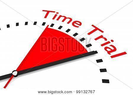 Clock With Red Seconds Hand Area Time Trial Illustration