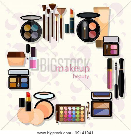 Glamorous Make-up Mascara Fashion Makeover Nail Polish Eye Shadow Lip Liner Lipstick