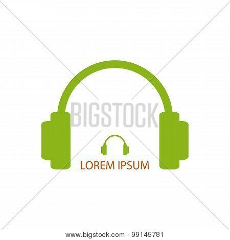 Green headphones as music logo