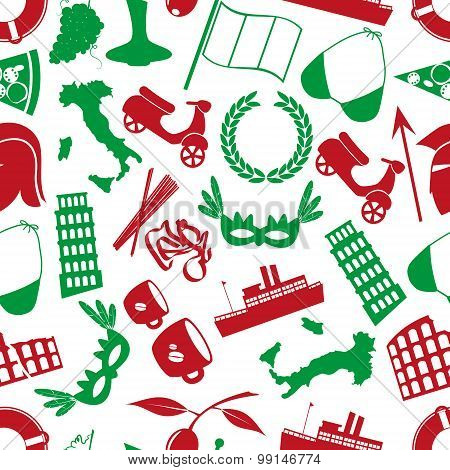 Italy Country Theme Various Icons Seamless Pattern Eps10