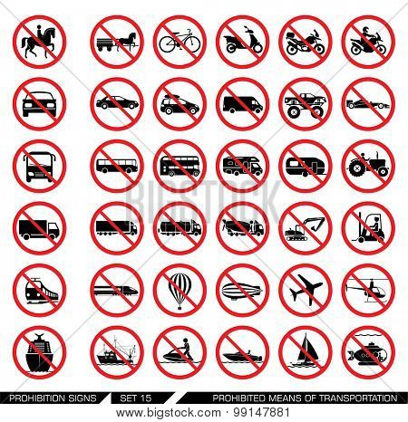 Set of prohibition signs for different means of transportation. Collection of signs that ban usage of certain means of transportation. Transportation icons.                                      poster