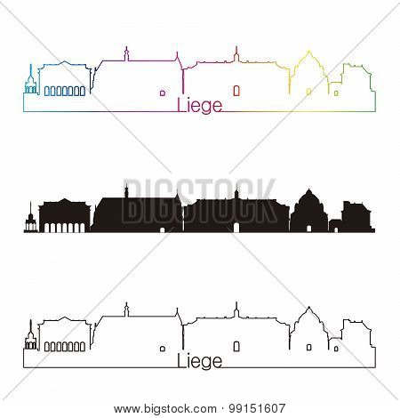 Liege Skyline Linear Style With Rainbow