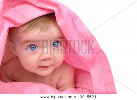 Cute little Baby Staring Up on White