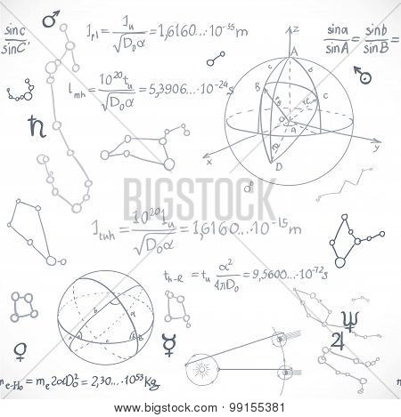 Seamless Pattern Of The Formulas On The Astronomy Isolated On White Background