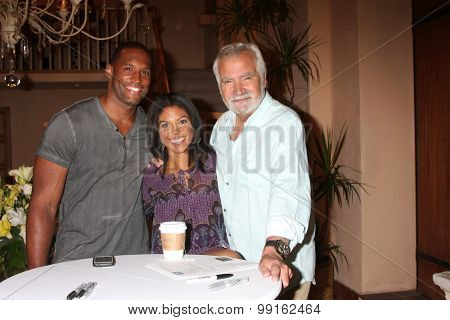 LOS ANGELES - AUG 14:  Lawrence Saint-Victor, Karla Mosley, John McCook at the Bold and Beautiful Fan Event Friday at the CBS Television City on August 14, 2015 in Los Angeles, CA