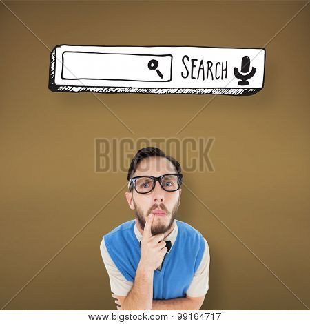 Geeky hipster looking confused at camera against yellow vignette