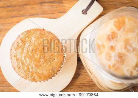 Banana Cupcake And Iced Coffee