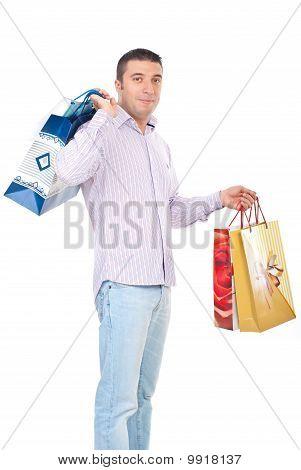 Shopper Man Carrying Bags