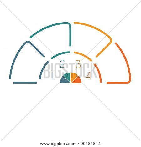 Lines Semicircle Infographic 4 Positions