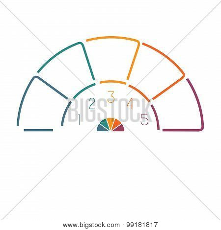 Lines Semicircle Infographic 5 Positions