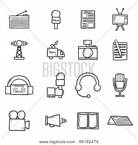Set of objects in hand drawn catroon style on journalism theme: newspaper, tv, antenna, microphone,