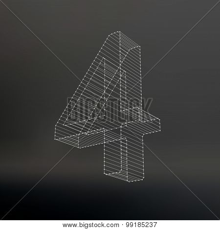Vector low poly numbers 4. Polygon number 4. Vector illustration.