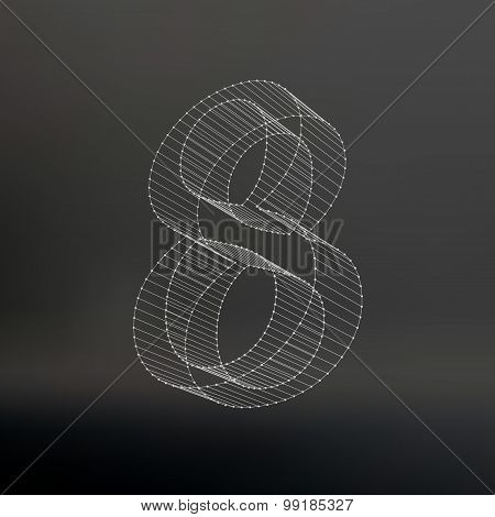 Vector low poly numbers 8. Polygon number 8. Vector illustration.