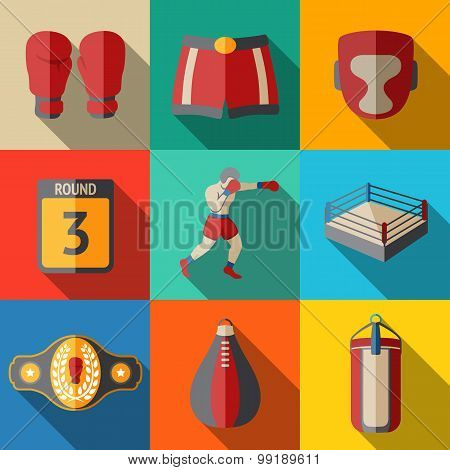 Flat icons set, boxing - gloves, shorts, helmet, round card, boxer, ring, belt, punch bags. Vector