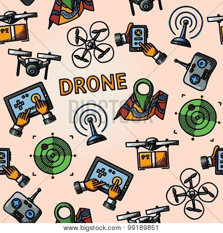 Freehand drone pattern - with box, top view, surveillance drone, navigation, map, controllers, table