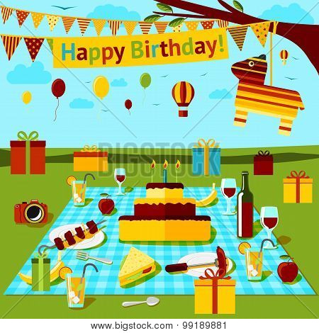 Happy birthday picnic poster with different food and drink, presents, piniata, countryside view. Vec