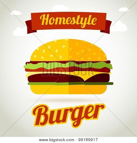 Homestyle burger banner concept. Vector
