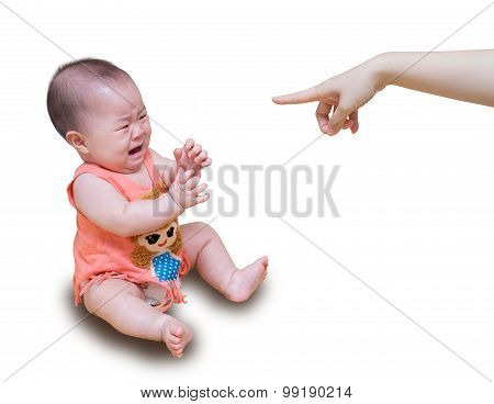 Asian Baby Crying While Mother Scolding Isolated On White Background