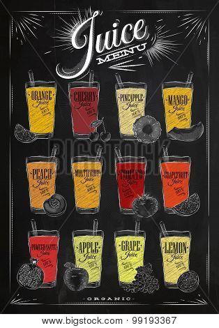 Poster Juice Menu Chalk